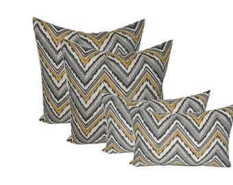 "SET OF 4 - Indoor / Outdoor 20"" Square & Rectangle / Lumbar Pillows - Gold, Ivory, Gray Charade Slate Chevron"