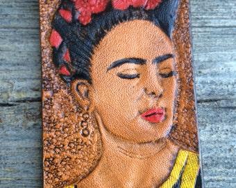 Frida Kahlo Leather hand tooled  Key Ring Tag