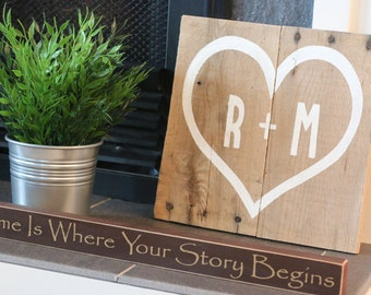 Personalized Wooden Sign with your Initials in a Heart