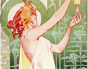 XL Antique French Advertising Poster for Absinthe 1905 , High Res Digital Image Instant Download, CU OK