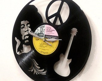 Jimi Hendrix Guitar Wall Art -Vinyl LP Record Clock or Framed -Great Rock'n'Roll, Jimi Hendrix, vinyl record, Gift
