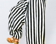 Striped bloomers black and white made of cotton, boho pants, gypsy pants, festival pants, summer trousers, striped pants black and white