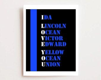 Police Officer Gift - Police Valentine - Thin Blue Line Printable - Law Enforcement - Love My Officer - LEO Printable - Cop Valentine