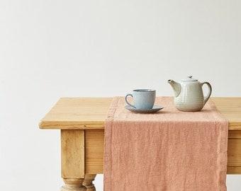 Café Crème Washed Linen Runner