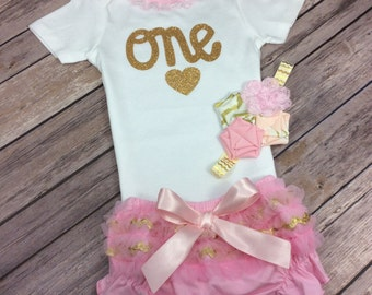 3 Piece Pink and Gold Set Including Onesie, Bloomers, and Headband or Hair Clip for First Birthday or One Year Old