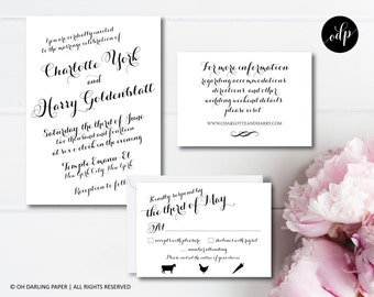 Printable Wedding Invitation, Calligraphy Wedding Invitation, Modern Calligraphy, Classic Wedding Invitation, Wedding Invitation PDF