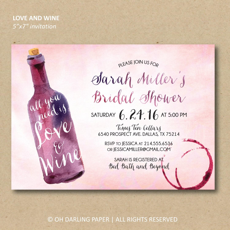 Printable Bridal Shower Invitation. Wine Shower Invitation