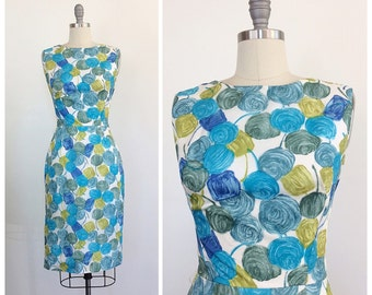 50s Vintage Blue and Green Floral Pencil Skirt Day Dress / 1950s Vintage Rose Print Wiggle Dress /Small / Size 4