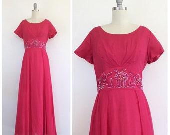 60s Pink Silk Chiffon Party Dress / 1960s Vintage Sequin EMMA DOMB Floor Length Prom Dress / Medium / Size 8