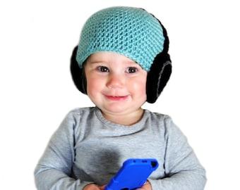 Baby Headphone Hat, Boys Crochet Beanie, Headphone Beanie, Knit Baby Hat, Baby Boy Hat, Blue Boys Hat, Kids Crochet Hat, Toddler Boys Hats