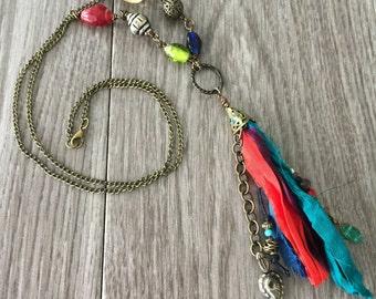 Sari Ribbon Tassel Necklace - Grand Bazaar