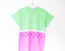 Tie Dye T Shirt Watermelon Summer Festival Hipster Tumblr Ibiza Edm Grunge Blogger Coachella Pastel S/M/L/XL