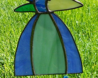Whimsical Stained Glass Bird Suncatcher with Legs, Blue/Green, CHOICE  #347