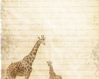 Printable Giraffe Journal Page, Giraffe Wildlife Stationery, Lined Paper, Instant Download, Scrapbook Paper, Animal Digital Stationery
