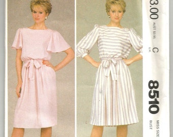 8510 McCall's Sewing Pattern Pullover Dress Choice Sleeves UNCUT Size 12 34B Vintage 1980s
