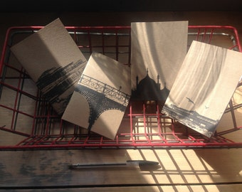 recycled paper A6 notebooks - set of four Brighton architectural printed covers...