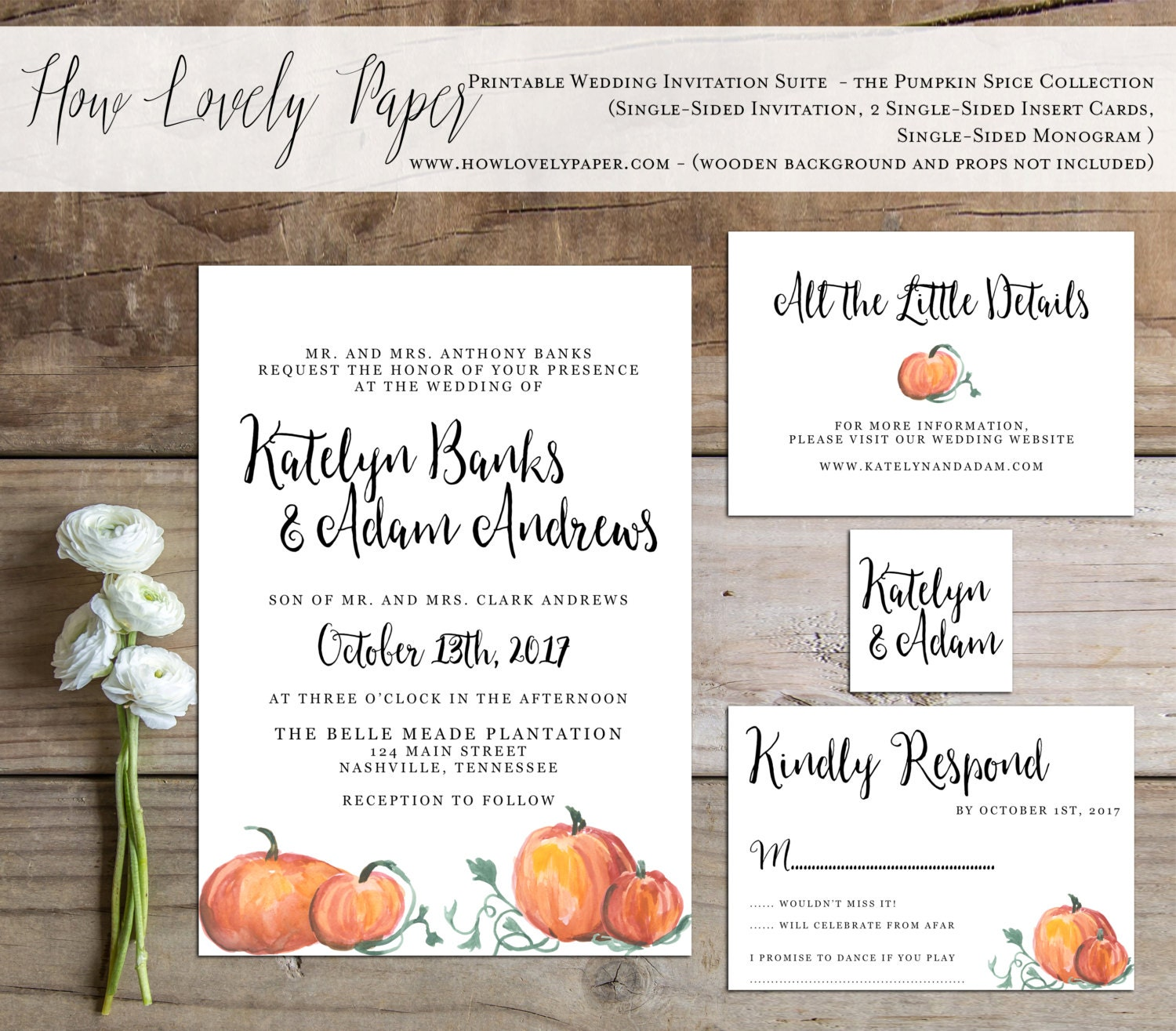 Printable fall wedding invitation suite the pumpkin spice for Fall wedding invitations with pumpkins