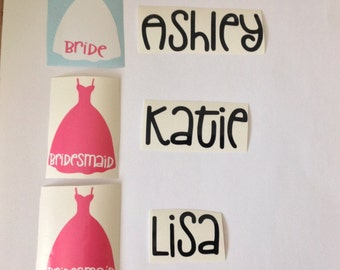 DIY Personalized Bridesmaid  Vinyl Decals Make Your Own Wedding Tumblers