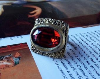Square Ring, Crystal Ring, Boho Ring, Adjustable Rings, Statement Ring, Unusual Ring, Bohemian Ring, Swarovski Ring, Artistic Ring