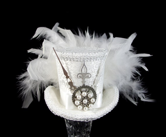 Ivory and White Wedding Steampunk Medium Mini Top Hat Fascinator, Alice in Wonderland, Mad Hatter Tea Party, Derby Hat
