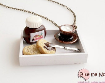 Mini Food Nutella Breakfast Necklace, Nutella Jewelry, Miniature Food Jewelry, Polymer Clay Sweets, Nutella Necklace, Dollhouse Miniatures