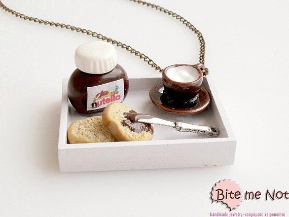 Mini Food Nutella Breakfast Necklace, Nutella Jewelry, Miniature Food Jewelry, Polymer Clay Sweets, Nutella Necklace, Dollhouse Miniatures