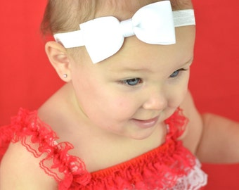 White Headband, White Bow Headband, Solid Bow Headband, Bow Headband, Baby Headband, Newborn Headband, Photo Prop, Solid Hair Bows