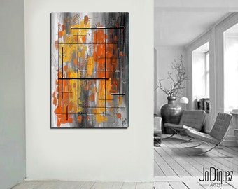 "Yellow and orange painting. Original geometric painting. Abstract art. 24x36"" Modern wall art."