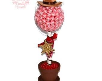 Sheriff Lollipop Candy Topiary, Cowboy Birthday Centerpiece, Old West Party, Sheriff Centerpiece, Cowboy Centerpiece, Cowboy Candy, Sheriff