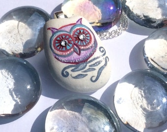 Owl Pendant, Hand Painted Sea Pottery, Swarovski Crystals, Sterling Silver, Gift Idea, Owl Jewellery, Owl Necklace, UK Seller