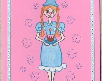 Gnome Girl Birthday Card - Gnome Birthday Card - Swedish Scandanavian Gnome Card
