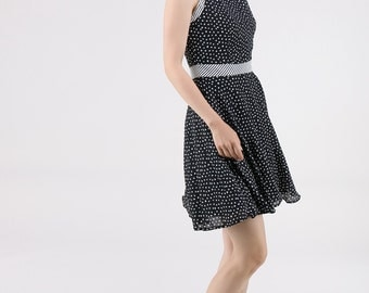 Black Chiffon Sleeveless Skater Dress.