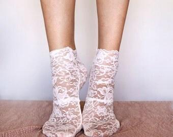 Lace Socks. Ivory Lace Socks. Ankle Lace Socks. Women's Lace Socks.