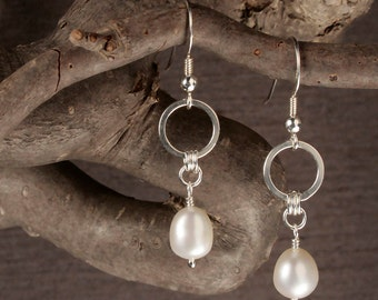 Freshwater Pearl Earrings - Dangle Earrings in Sterling Silver with Natural Ivory White Freshwater Pearls - 00109 - MADE TO ORDER