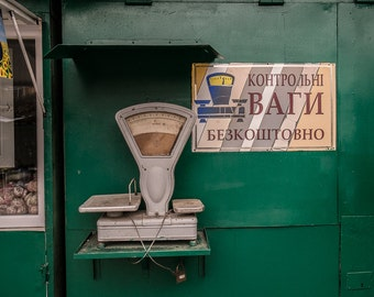 Scale in the market in Sumy, Ukraine- a color photograph
