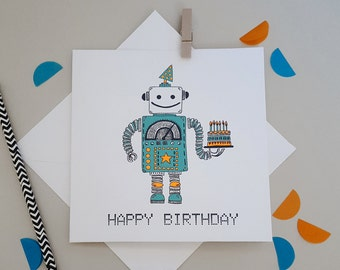 Robot Birthday- Quirky, Illustrated Robot Birthday Card- Happy Birthday Boyfriend//Son//Friend//Dad//Uncle//Nephew