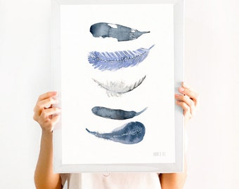 Watercolor feather art print from original watercolor artwork by Annemette Klit. Minimalistic and modern wall art. Coastal giclee art print