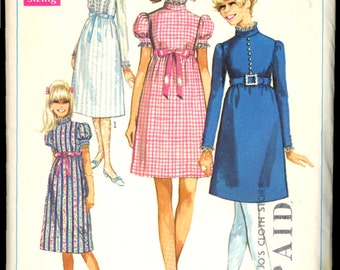 1960s Size 14 Bust 34 Empire Waist Dress Two Lengths Simplicity 7792 Vintage Sewing Pattern 60s Mod
