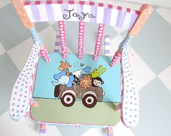 Personalized Child Rocking Chair, Child Safari Rocking Chair, Girl Rocking Chair, Custom Child Rocker, MADE TO ORDER