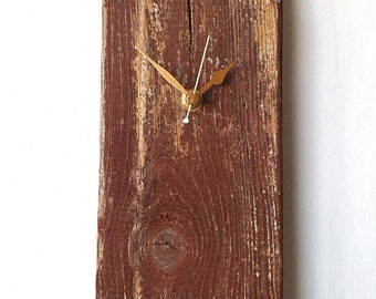 Wood Wall Clock -  Brown  Recycled Wood - Natural Clock - Upcycled Rustic Clock
