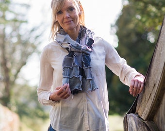 Handmade Patchwork Scarf in shades of grey.