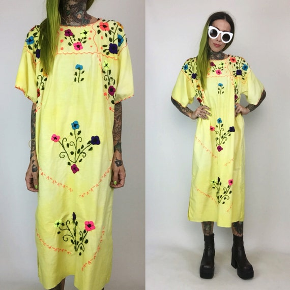 Embroidered Neon Colorful Mexican Maxi Dress Caftan Medium - Long Maxi Dress Mexico Hand Embroidery - Vtg Handmade Dress Mexico Cotton Tunic