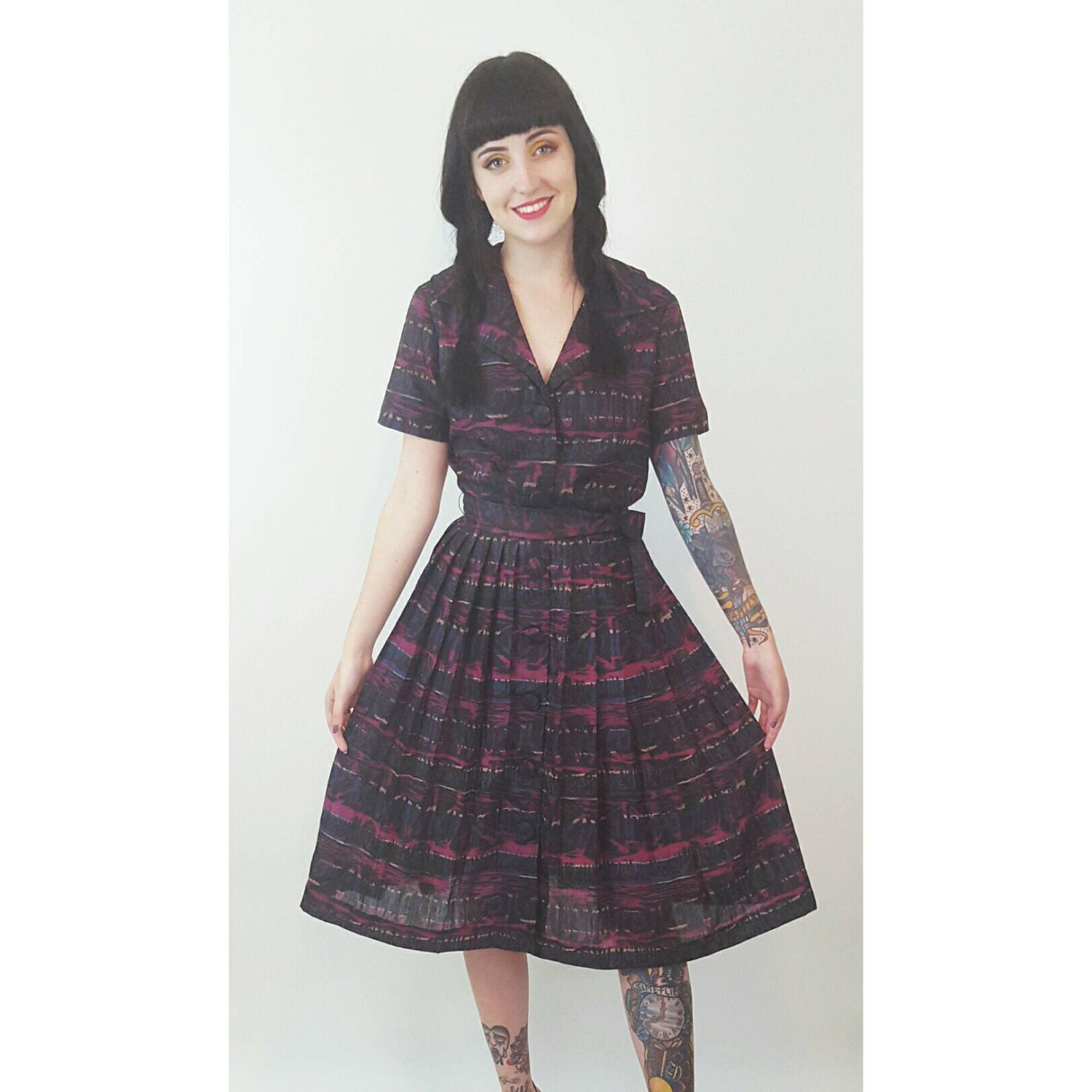 50s vintage little black dress remade small medium mad for Cosmic pattern clothing
