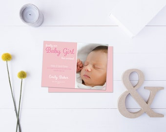 Baby Girl Arrival Post Card // Insert your own Baby Picture // Pink Tones // DIY Printable File // Digital PDF File