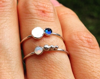 Opal Sterling Stacking Ring
