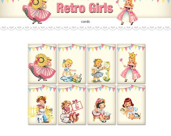 "Printable ATC cards retro girls / ATC ACEO digital collage sheet / eight 2.5"" x 3.5"" cards /  instant download / printable tags"