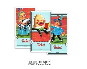 Nursery rhyme baby shower raffle tickets / printable tickets / diaper raffle / Humpty Dumpty / diaper raffle / storybook nursery rhyme theme