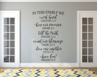 Inspirational - Wall Decal - In This Family - Black- Family Rules - Bible Verse Wall Decals - Inspirational Wall Decor