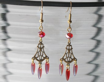 Red and gold art nouveau drop earrings (E120)