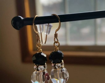 Black tie swarovski crystal earrings in gold